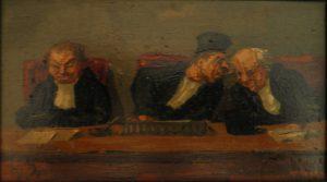 """Honoré Daumier """"Trois juges en séance"""". Huile sur bois (10,5 x 15 cm)"""
